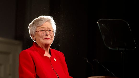 Governor Kay Ivey gives the Alabama State of the State address on Tuesday, Jan. 9, 2018, at the Alabama Capitol building in Montgomery, Ala.