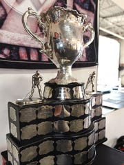 The Memorial Cup was on display Wednesday at Jake's