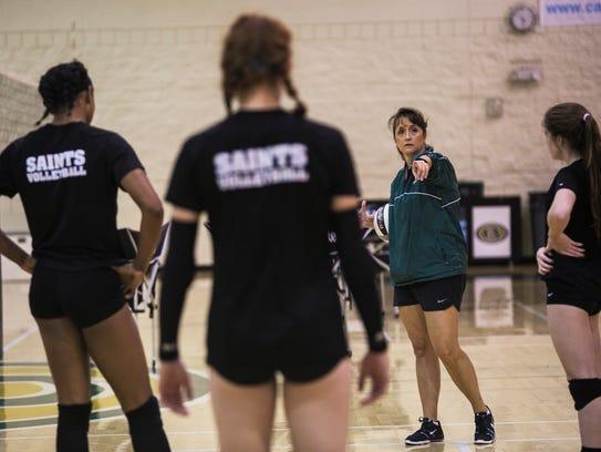 October 9, 2017 - Carla Anderton coaches her girls