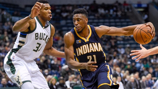 Indiana Pacers forward Thaddeus Young (21) dribbles the ball around Milwaukee Bucks forward Giannis Antetokounmpo (34) in the first quarter at BMO Harris Bradley  Sports