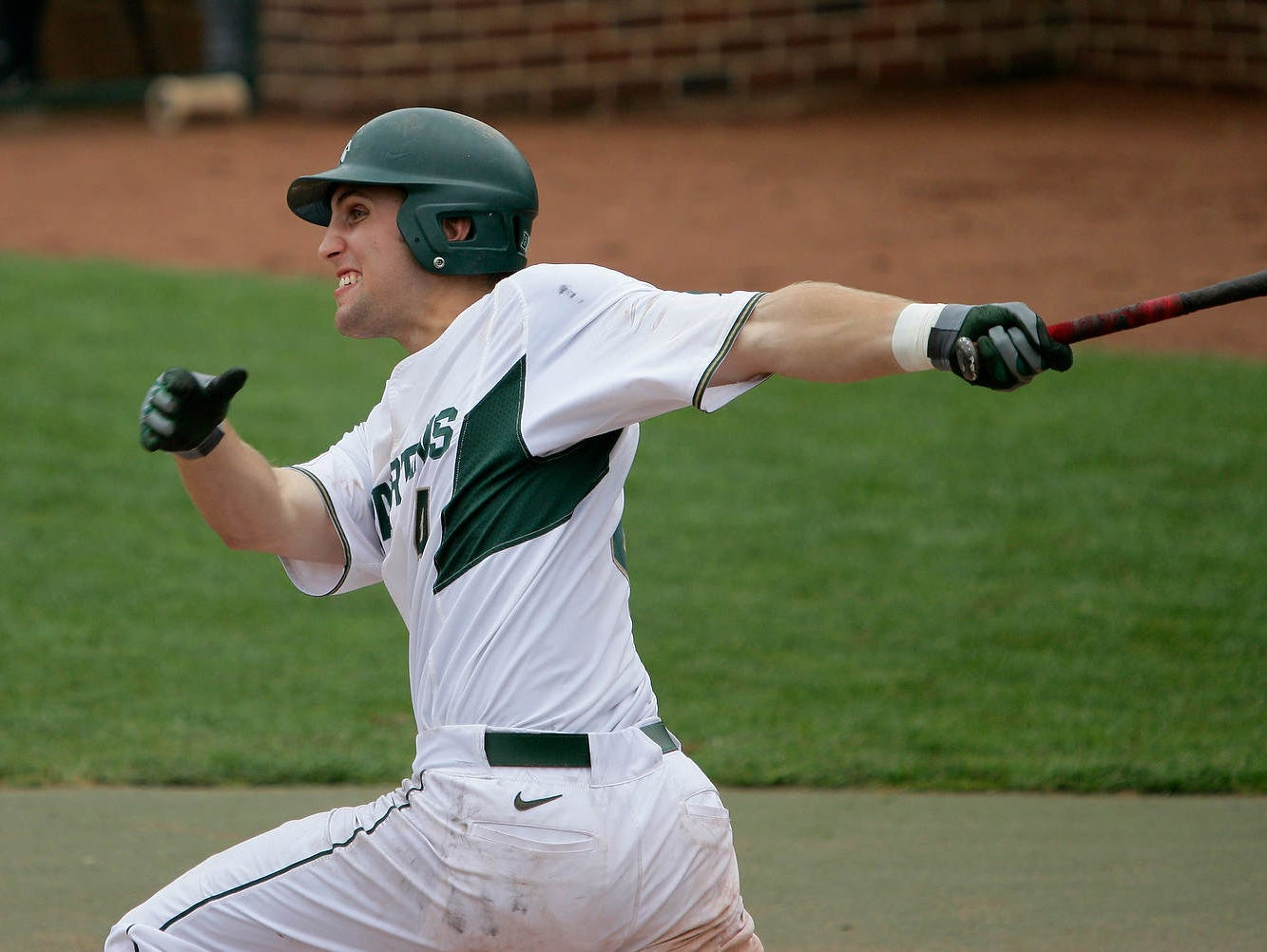 Michigan State's Mark Weist follows through on his solo homer in the 1st inning against Penn State Saturday, May 9, 2015, in East Lansing, Mich. Michigan State won 5-4.