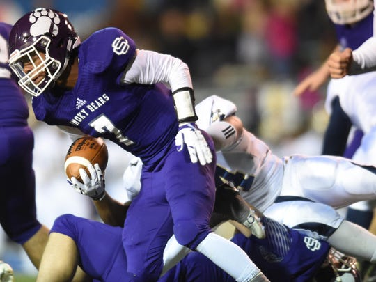 Sevier County's Dorian Banks (7) runs the ball against Independence during the Class 5A state high school football championship game at Tennessee Tech University in Cookeville on Friday, Dec. 4, 2015. (ADAM LAU/NEWS SENTINEL)