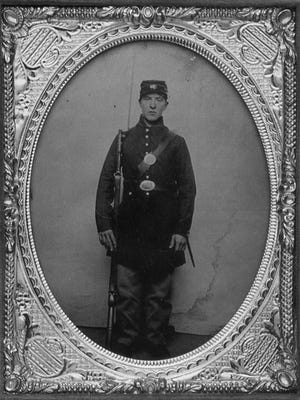 Sarah Rosetta Wakemen in her uniform in 1863.