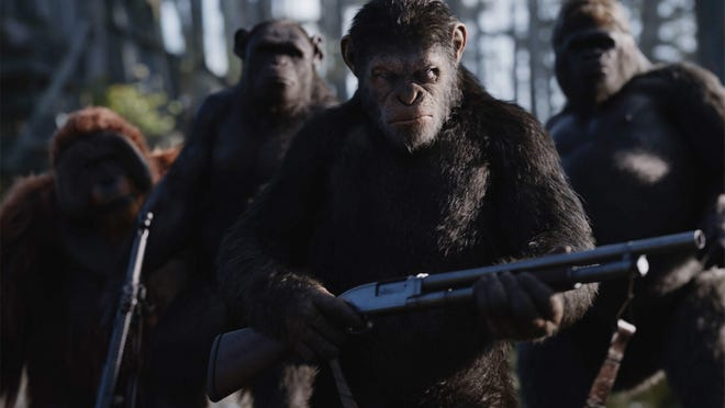 Caesar (played by Andy Serkis) is on a quest of revenge.