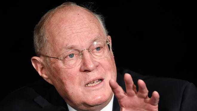 Supreme Court Justice Anthony Kennedy speaking in San Diego in 2015.