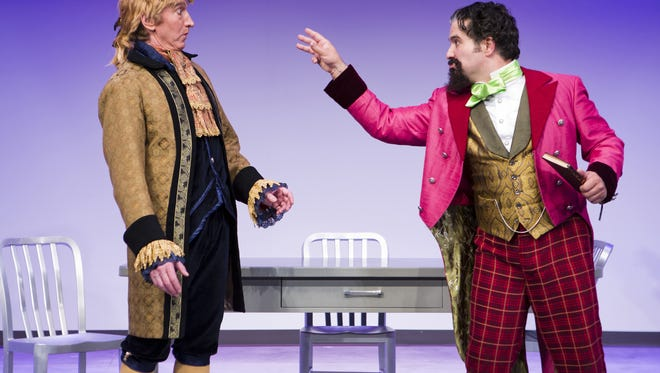 """Larry Cedar (left) and Mark Gagliardi perform in Arizona Theatre Company's production of """"The Gospel According to Thomas Jefferson, Charles Dickens and Count Leo Tolstoy: Discord."""""""