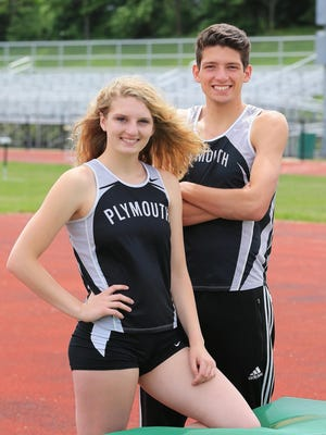 Plymouth siblings Katherine Harris (left) and Nathan Harris are all smiles after each earned all-state honors in the high jump at the Division 1 meet in Rockford.