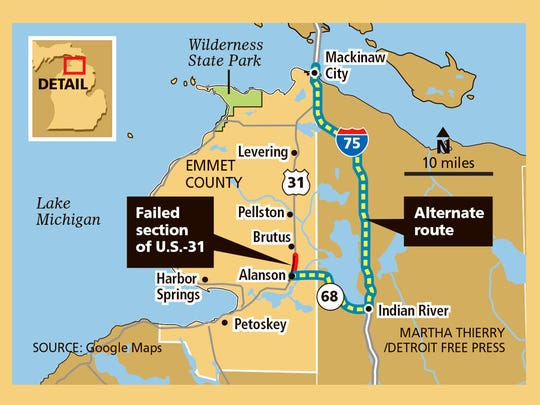 A failed section of U.S.-31 at the tip of the mitt will force holiday travelers to take an alternate route north.