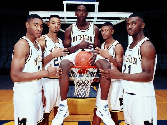 From left, Fab Five members Jimmy King, Juwan Howard,