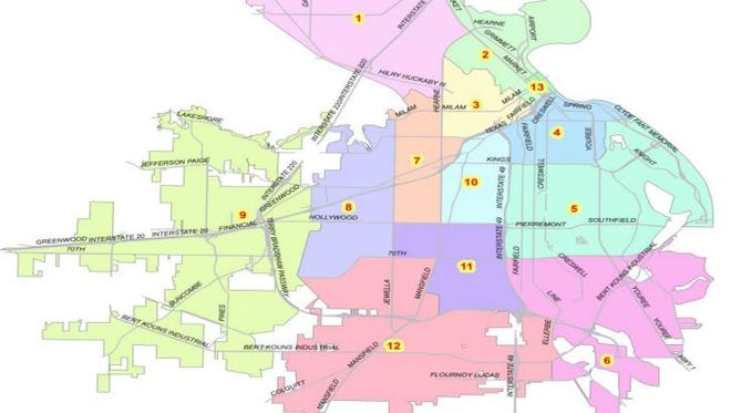 Shreveport is divided into 13 district a shown.