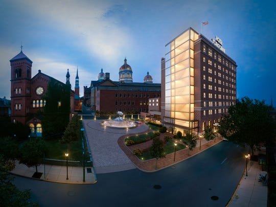 An artist's rendering depicts the Yorktowne Hotel after