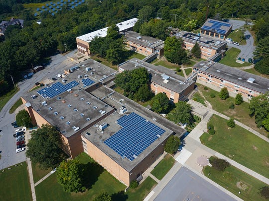 Bird's-eye view of solar panels on the Burlington High School roof, as seen from an AirShark unmanned aerial vehicle.