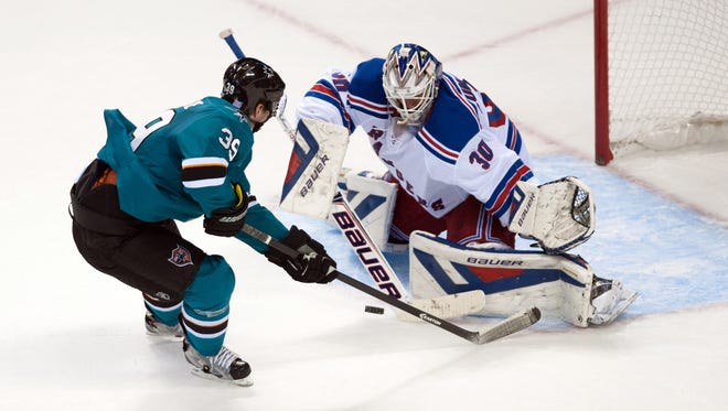 """Says San Jose's Logan Couture: """"Our mentality this year is shoot the puck and we will get it back. That's how we are scoring a lot of goals."""""""