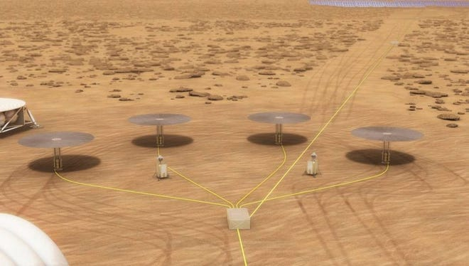 """A NASA rendering shows four """"KRUSTY"""" fission reactors powering an outpost on Mars. Y-12 contributed uranium alloy components that make up the reactor's core."""