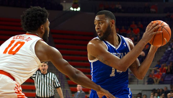 UNC-Asheville Bulldogs guard Ahmad Thomas (14) scored 23 points in the Bulldogs' win over High Point on Saturday.