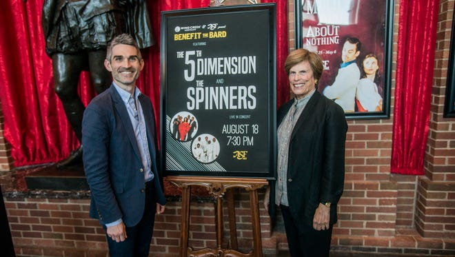 Alabama Shakespeare Festival artistic director Rick Dildine, left, and ASF board chair Dr. Laurie Weil during the Benefit the Bard announcement Thursday, April 29, 2018.