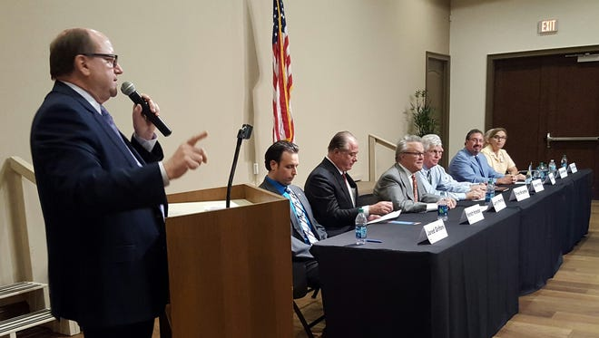 The eight City Council candidates gather in Rose History Auditorium for a candidate forum on Oct. 13. The Marco Island Area Chamber of Commerce, Marco Island Association of Realtors and Marco Island Civic Association hosted the event.
