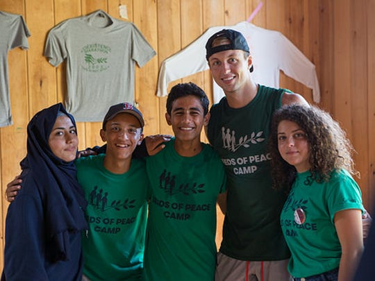 Pistons guard Luke Kennard at the Seeds of Peace camp in Maine. The camp is for young people from areas of conflict.