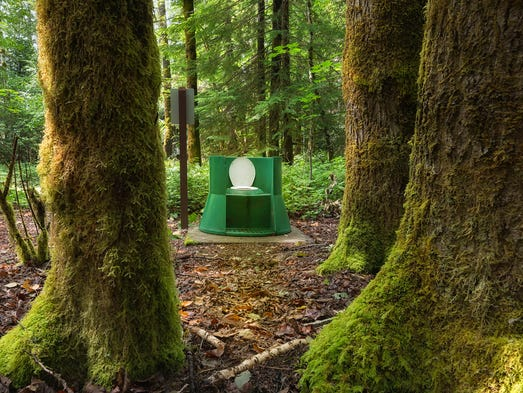 This stylish green composting toilet at Taylor Arm