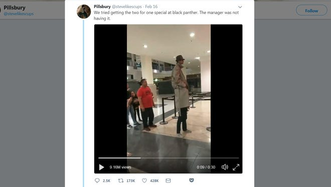 A video posted on Twitter showing two boys trying to get into a movie has been viewed more than 9 million times.