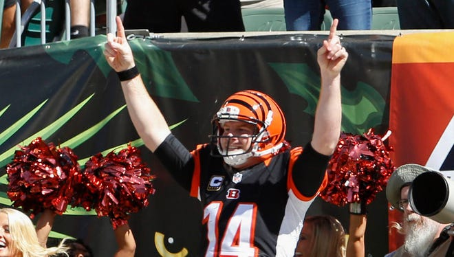 Cincinnati Bengals quarterback Andy Dalton (14) celebrates after scoring a touchdown against the Tennessee Titans in the first half at Paul Brown Stadium.