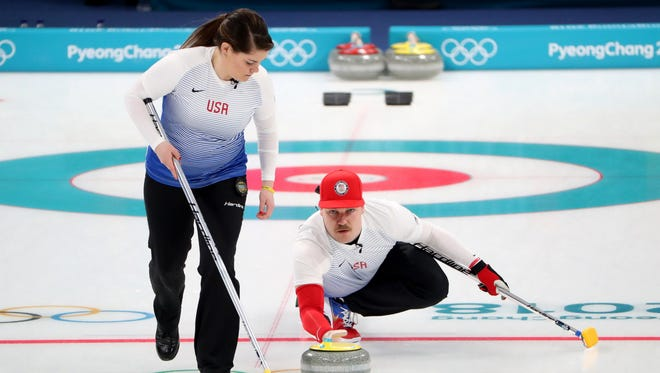 Becca Hamilton and Matt Hamilton compete in the curling mixed doubles round robin during the Pyeongchang 2018 Olympic Winter Games at Gangneung Curling Centre.
