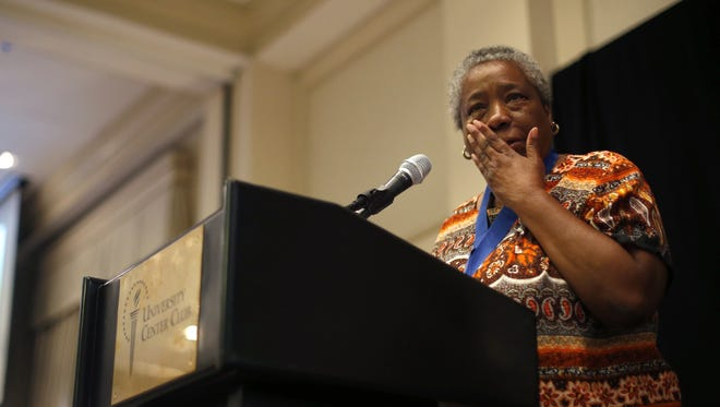 Jefferson Award for Public Service Foundation winner Carole Curry tears up as she addresses the crowd at the Tallahassee Democrat's 38th Annual Volunteers of the Year Award ceremony at the University Center Club on Thursday, May 5, 2016.