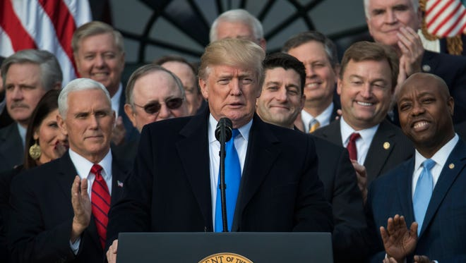 President Trump with congressional Republicans.