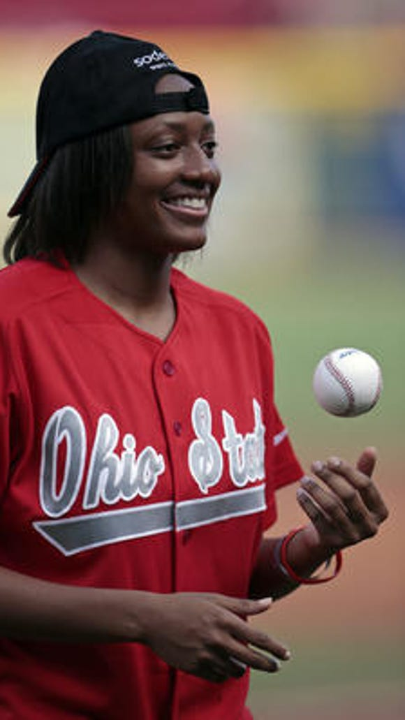 Former Princeton High star Kelsey Mitchell threw out