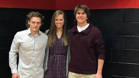 Andrews' Drew Pyle, Morgan Mashburn and Taylor Parker