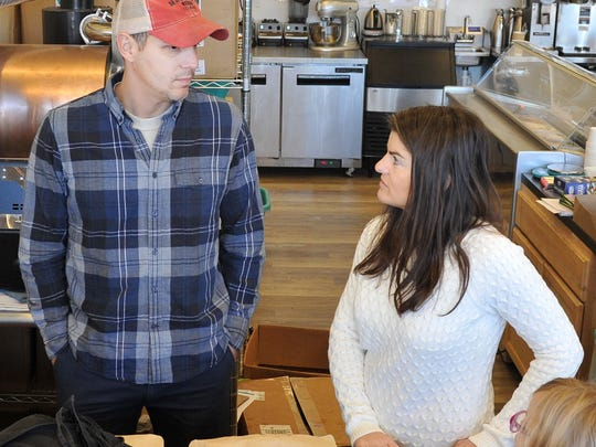 Odd Ducks Coffee, owners, Ted and Andrea klopf stand at the counter of their downtown coffee shop named Odd Duck Coffee. The store is in the Big Blue building, downtown Wichita Falls.