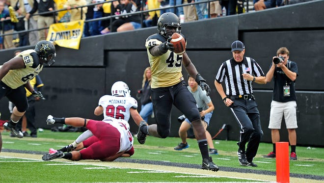 Vanderbilt outside linebacker Stephen Weatherly (45) could be a valuable play-maker in Derek Mason's 3-4 scheme.