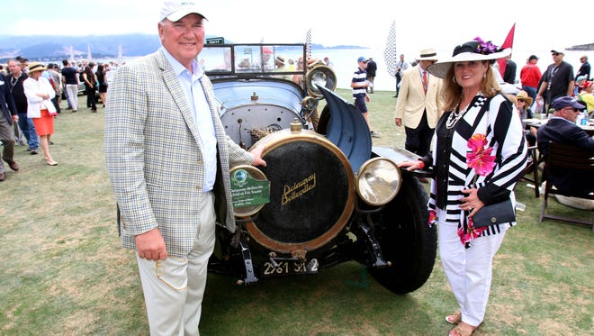 David and Teresa Disiere from Southlake, Texas and their 1913 Delaunay-Belleville Rothschild et Fils Tourer at the Pebble Beach Concours d'Elegance in Pebble Beach