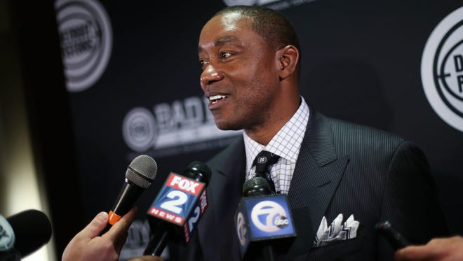 "Former Detroit Pistons player Isiah Thomas talks with the media during the ""Bad Boys Unite"" charity event March 27, 2014, at the Westin Book Cadillac in Detroit."