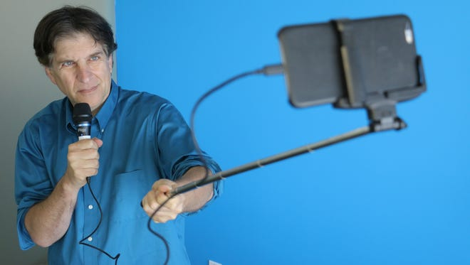 Shooting a stand-up on the iPhone with a Selfie Stick.