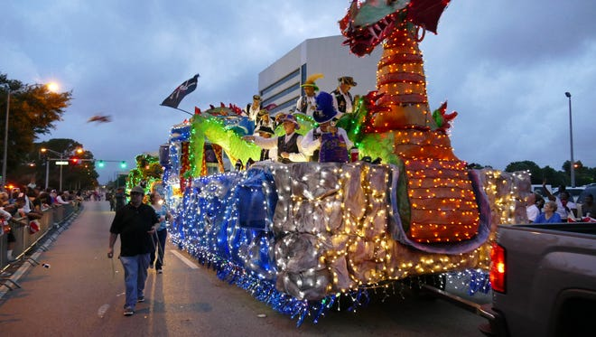 Thousands of people came out to watch the 66th annual Pen Air Grand Fiesta Day Parade Friday night in downtown Pensacola.