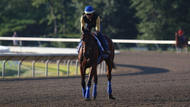 Triple Crown winner American Pharoah makes a final public appearance at Monmouth Park before the William Hill Haskell Invitational. Trainer Jorge Alvarez takes American Pharoah for a lap around the track.