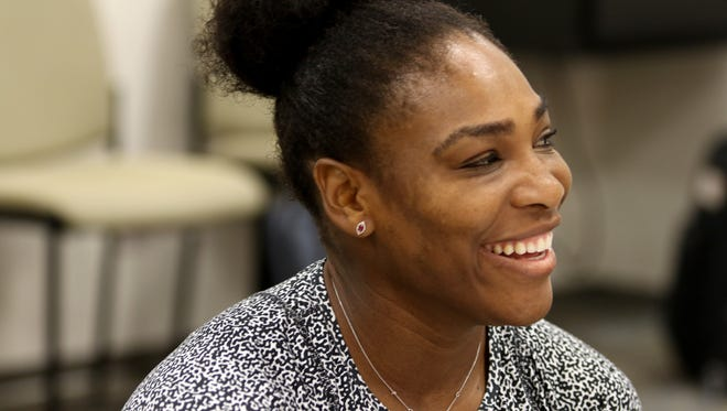Serena Williams speaks to the media during a Western & Southern Open  press conference at the Lindner Family Tennis Center in Mason on Tuesday.