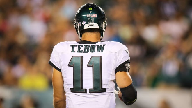 Philadelphia Eagles quarterback Tim Tebow enters the game in the fourth quarter. The Eagles defeated the Baltimore Ravens 40-17 at Lincoln Financial Field Saturday.