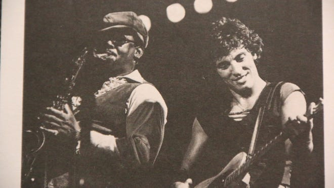 Clarence Clemons and Bruce Springsteen rock out at Rutgers' College Avenue Gym in October of 1976.