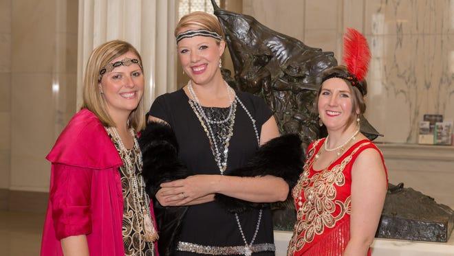 From left, Georgia Ann Hudson, Keri  Hallford, and Sara Kunau at Abbey at the Archives: A Fashionable Affair.