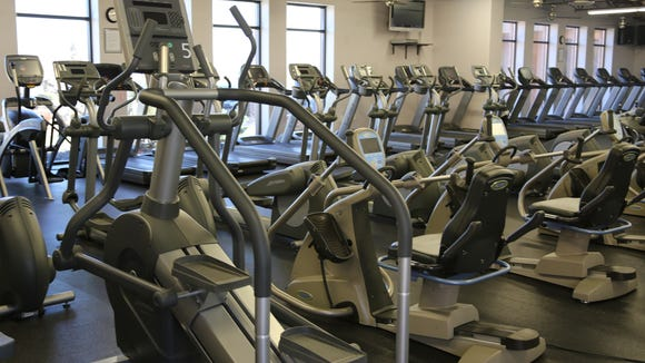 The gym at Movara Fitness Resort has a variety of cardio