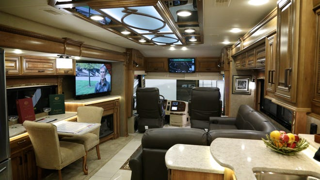 The interior of Entegra Cornerstone motorhome seen during the 50th Annual Detroit Camper and RV Show at Suburban Collection Showplace on Wednesday, February 10, 2016, in Novi, MI. More than 275 RVs and 50 Brands are on displayed, ranging in price from $7,000 to more than $400,000.