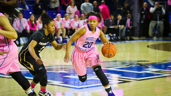 Ty Petty (20) and the Lady Raiders square off against rival Western Kentucky on Thursday in Bowling Green.