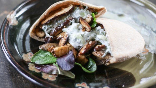 Mushroom and Tzatziki Pitas are a delicious combination of savory and bright flavors.