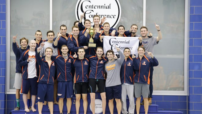 Gettysburg's men's swim team won its sixth consecutive Centennial Conference swim title Sunday.
