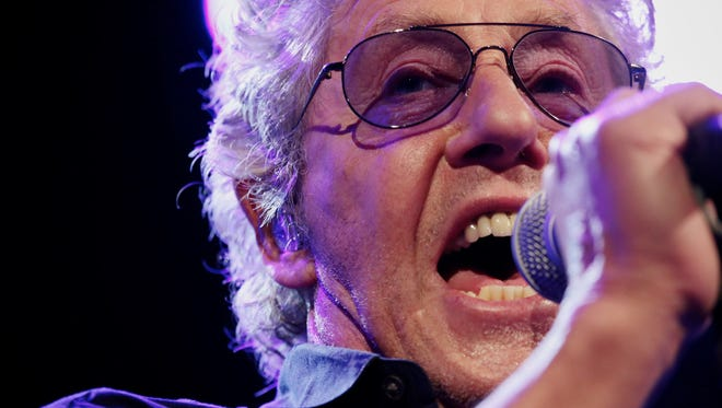 The Who vocalist Roger Daltrey performs at Joe Louis Arena on Saturday, Feb. 27, 2016, in Detroit.