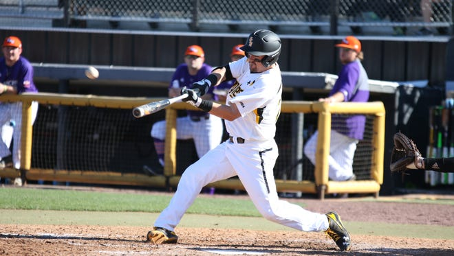 Southern Miss' Tim Lynch hits a home run against Northwestern State on Saturday.