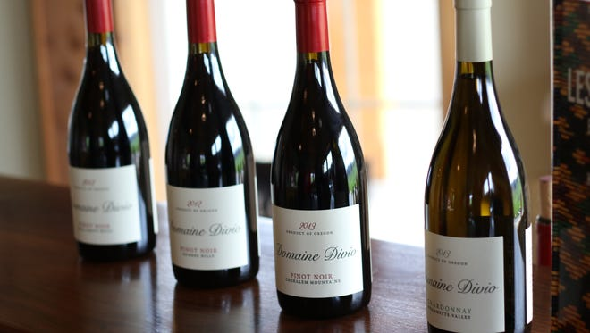 The wines of Domaine Divio, photographed at the new tasting room near Newberg.