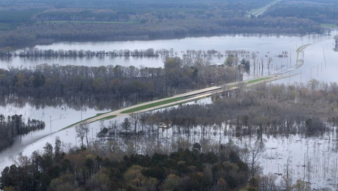 About eight miles north of Bastrop, U.S. 425 was underwater after water topped a levee as flooding continued in northeast Louisiana on Saturday, March 12.